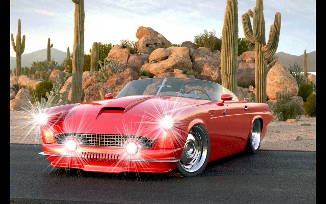 1955 Ford Thunderbird Custom II from Vizualtech retro hot rod rods custom lowrider supercar   gd wallpaper