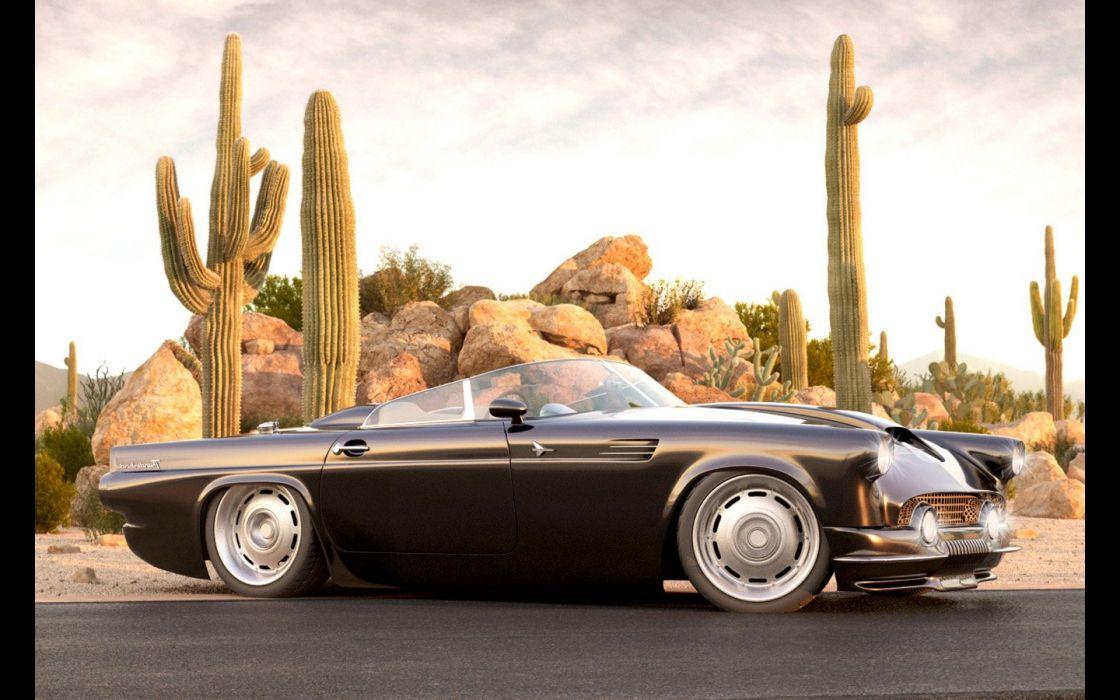 1955 Ford Thunderbird Custom II from Vizualtech retro hot rod rods custom lowrider supercar   g wallpaper
