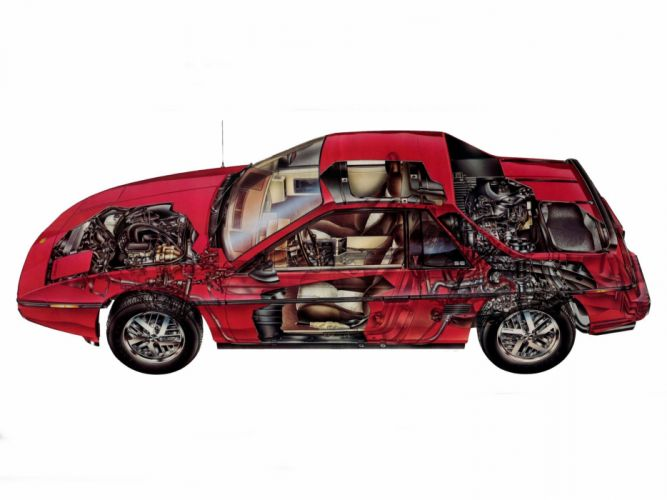 1984 Pontiac Fiero interior engine h wallpaper