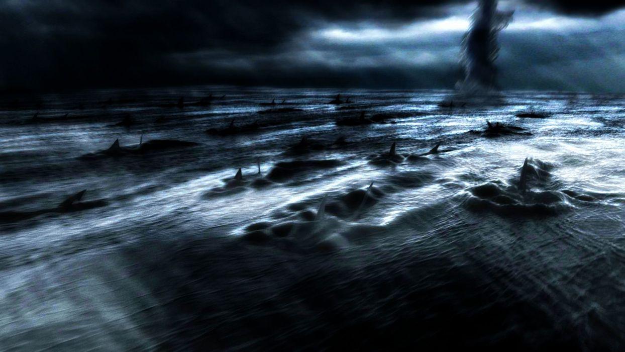 SHARKNADO horror sci-fi television movie film shark ocean wallpaper
