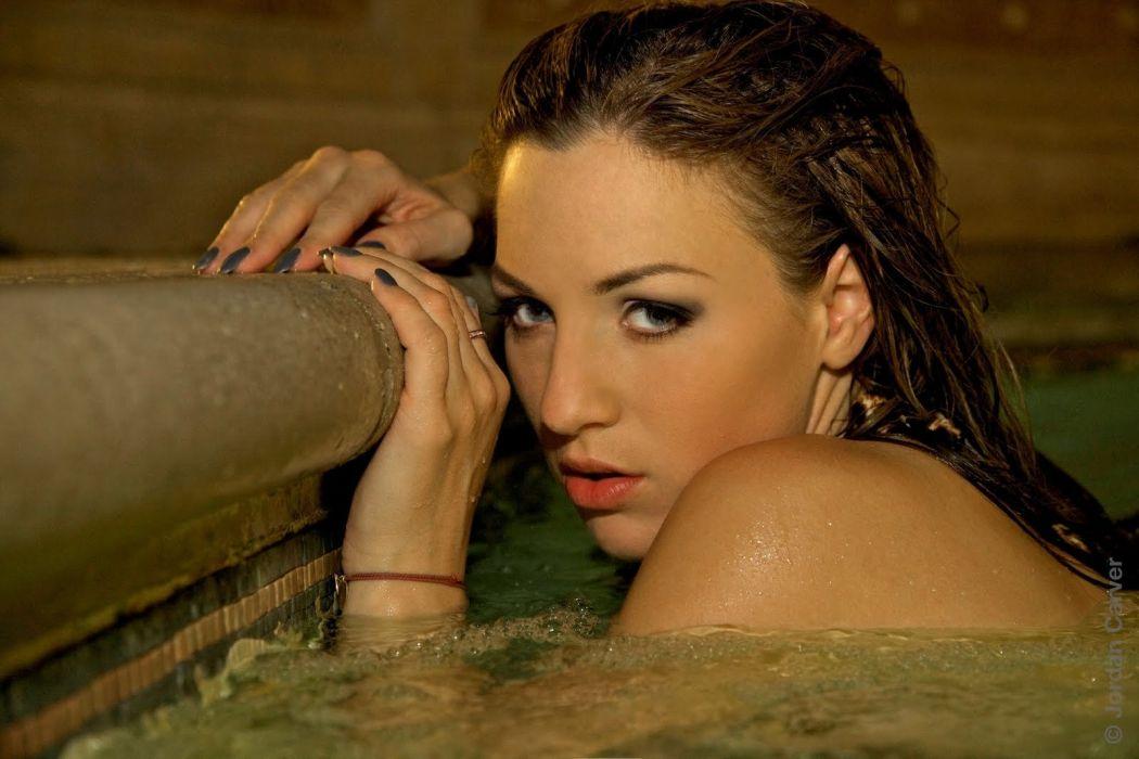Jordan Carver pool night photoshoot (2) wallpaper
