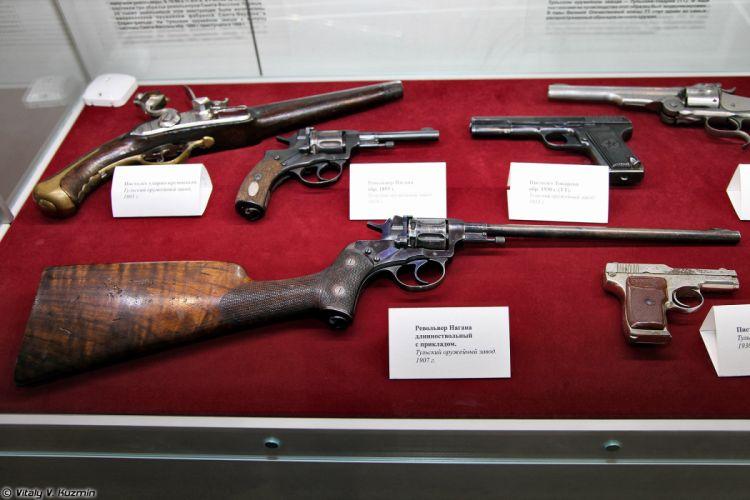 Long barrel Nagan revolver with buttstock wallpaper