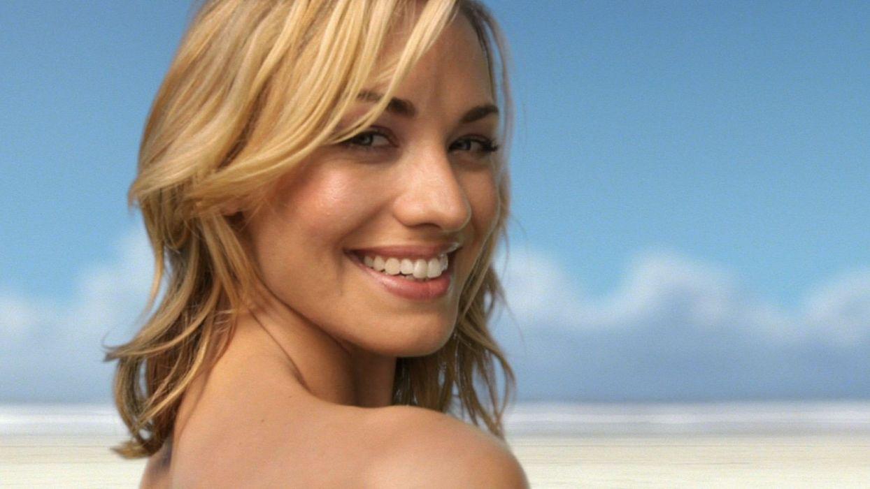 blondes women Yvonne Strahovski body painting beaches wallpaper