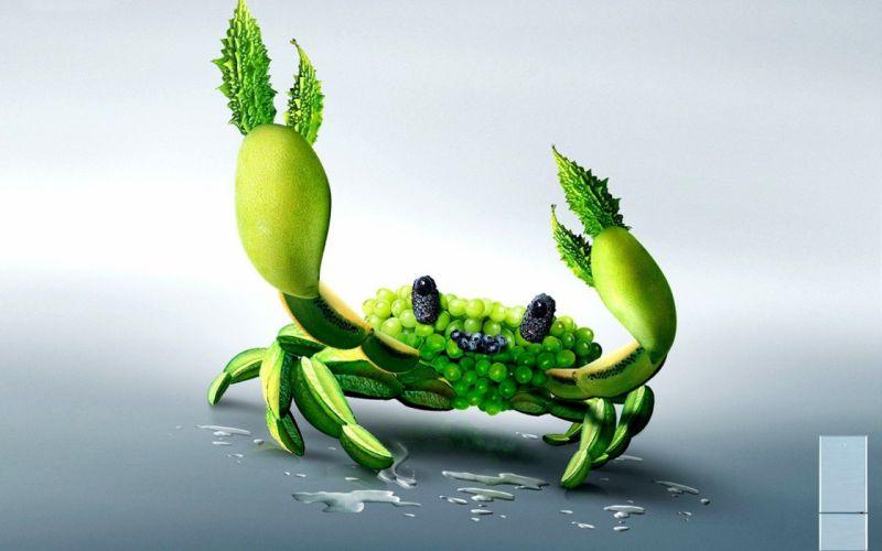 food grapes artwork crabs photo manipulation manipulations wallpaper