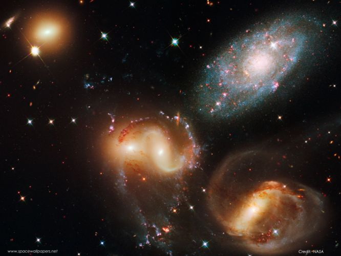 outer space galaxies Stephan Quintet wallpaper