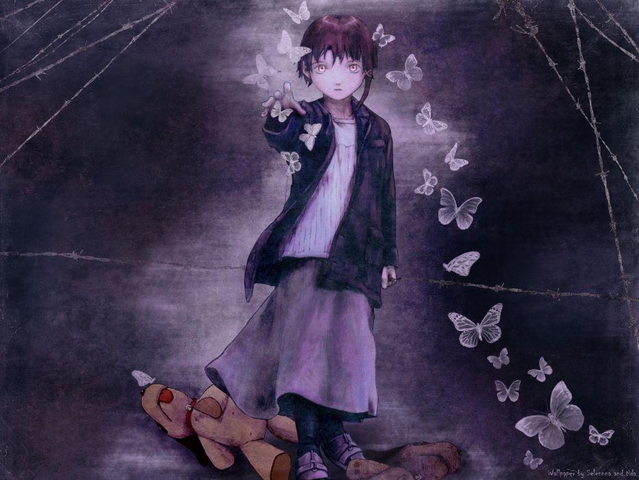 brunettes Serial Experiments Lain Iwakura Lain stuffed animals anime anime girls butterflies wallpaper