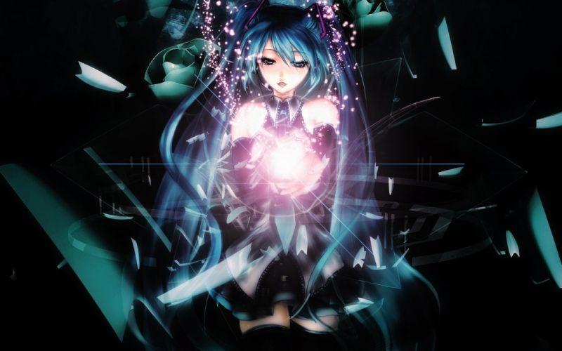 Vocaloid Hatsune Miku detached sleeves bare shoulders wallpaper