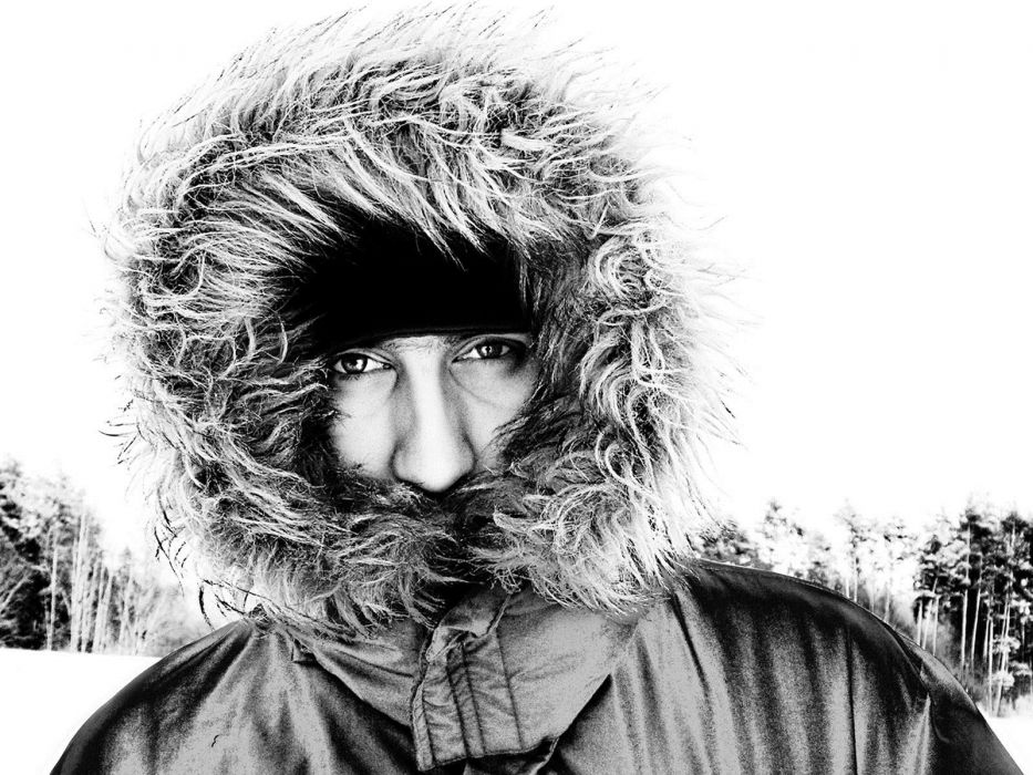 monochrome eskimo fur clothing wallpaper