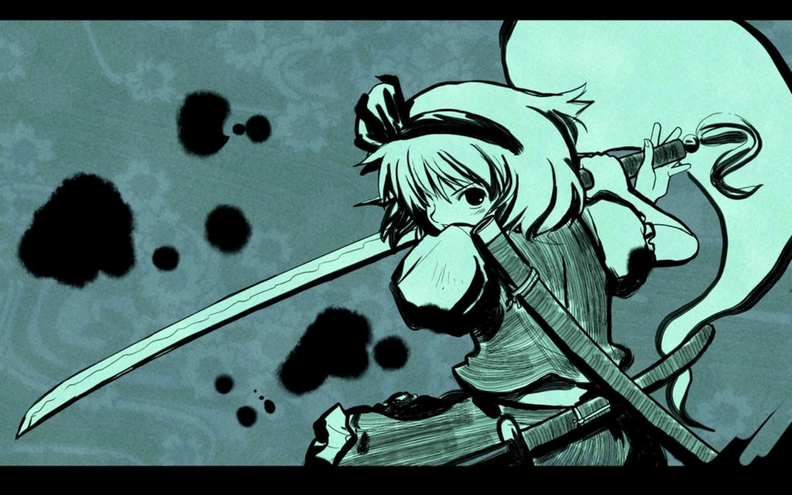 green video games Touhou Konpaku Youmu wallpaper