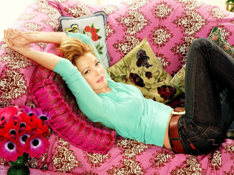blondes women jeans couch actress Drew Barrymore lying down wallpaper