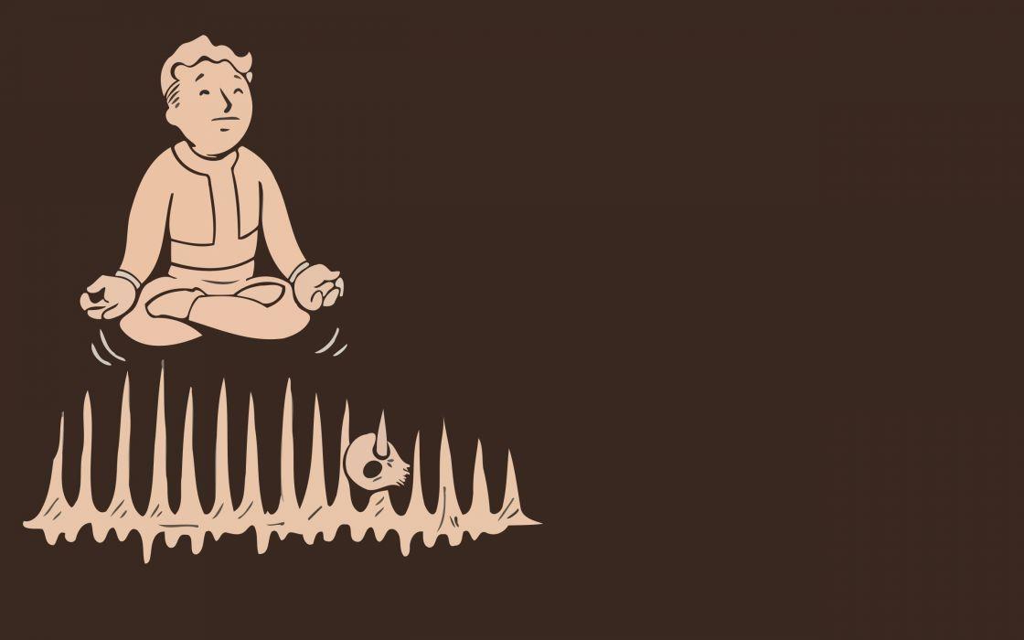 video games minimalistic Fallout brown Vault Boy simplistic simple pip boy wallpaper