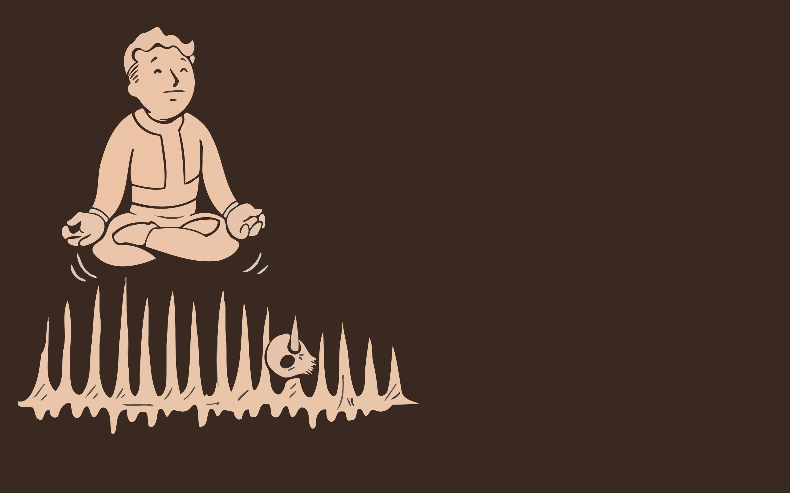 Video Games Minimalistic Fallout Brown Vault Boy Simplistic Simple