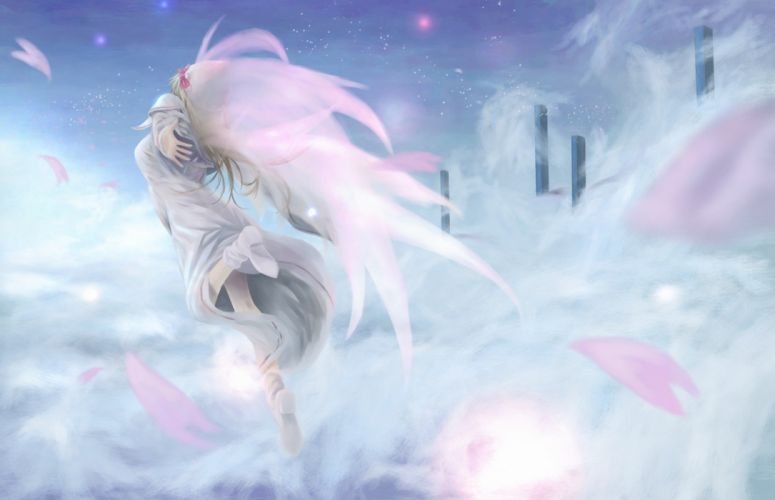 blondes Touhou wings dress long hair flower petals Lily White wallpaper
