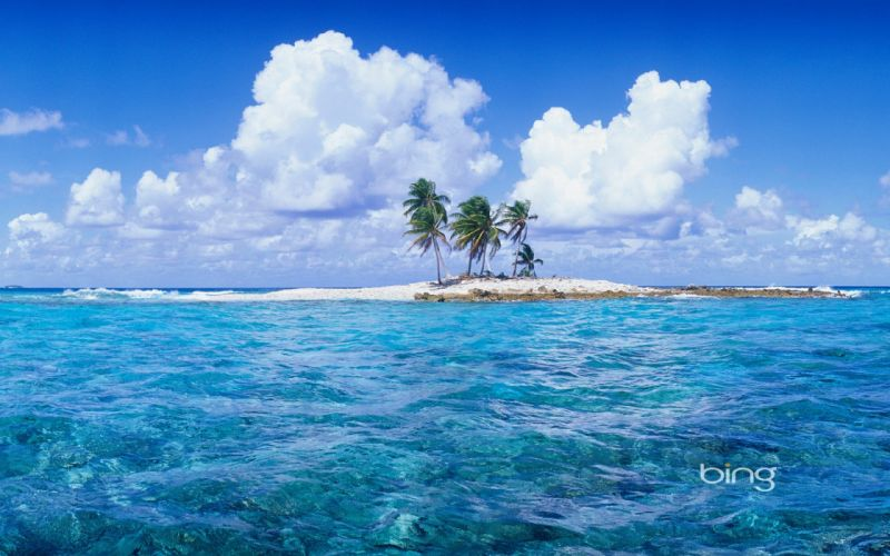 water clouds islands palm trees wallpaper
