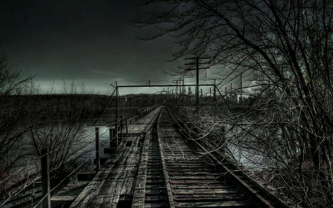 dark night railroad tracks HDR photography wallpaper