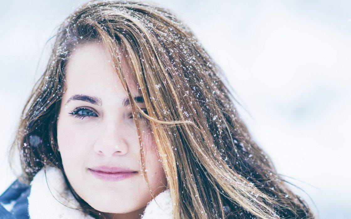 blondes women snow eyes faces wallpaper