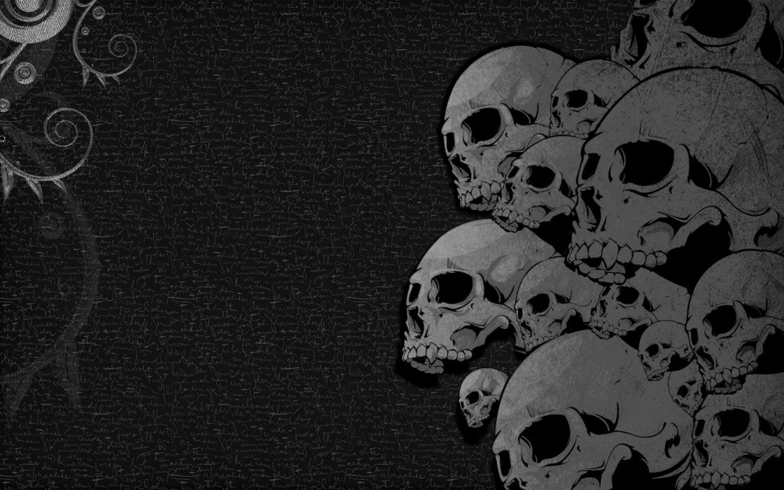 Skulls Black Heavy Metal Wallpaper