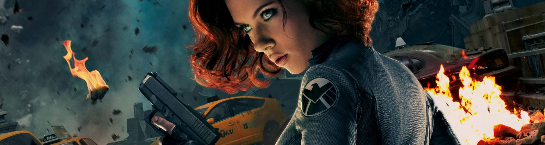Scarlett Johansson guns movies redheads Black Widow short hair taxi debris The Avengers (movie) wallpaper