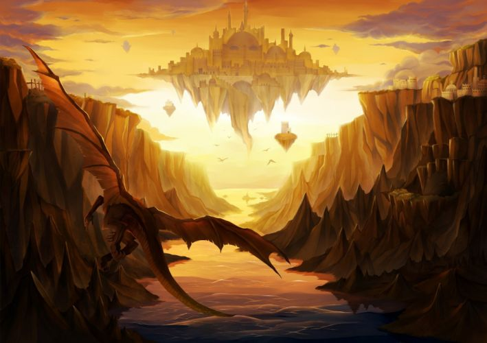 landscapes wings castles cityscapes dragons flying fantasy art Drake scenic artwork drawings wallpaper