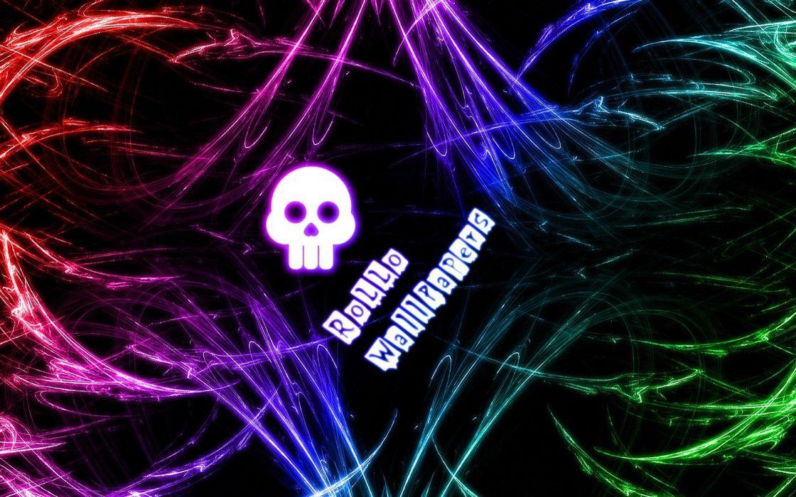 abstract skulls multicolor claws wallpaper