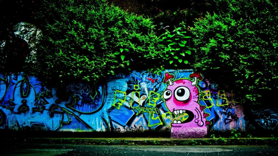 trees cityscapes wall graffiti wallpaper