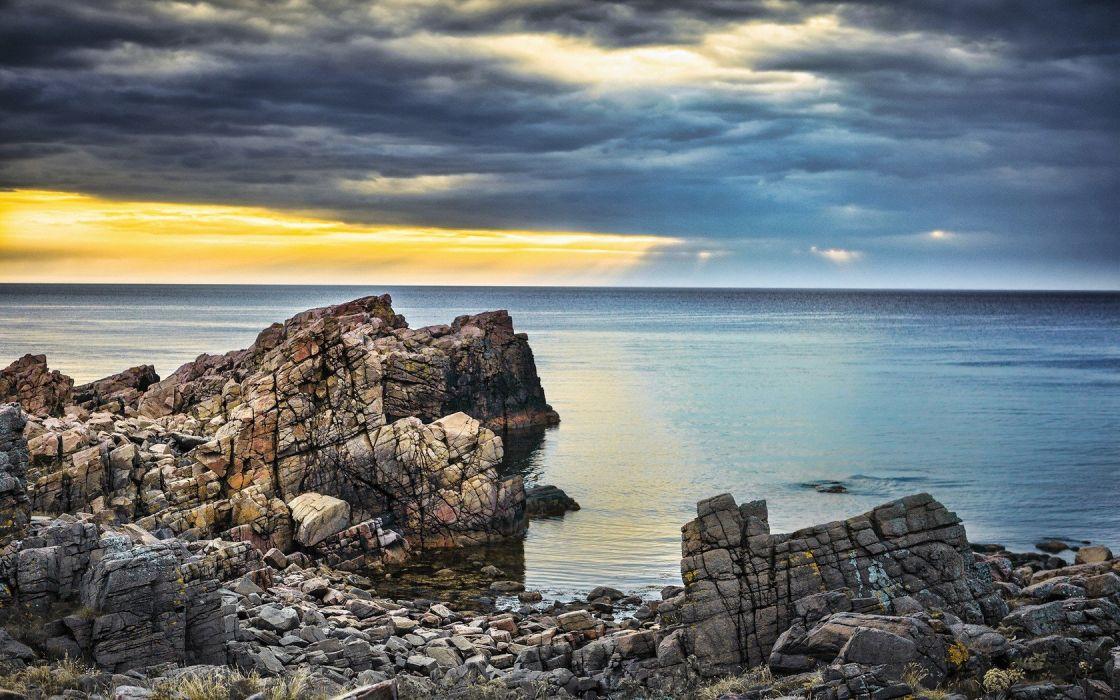 landscapes nature coast rocks wallpaper