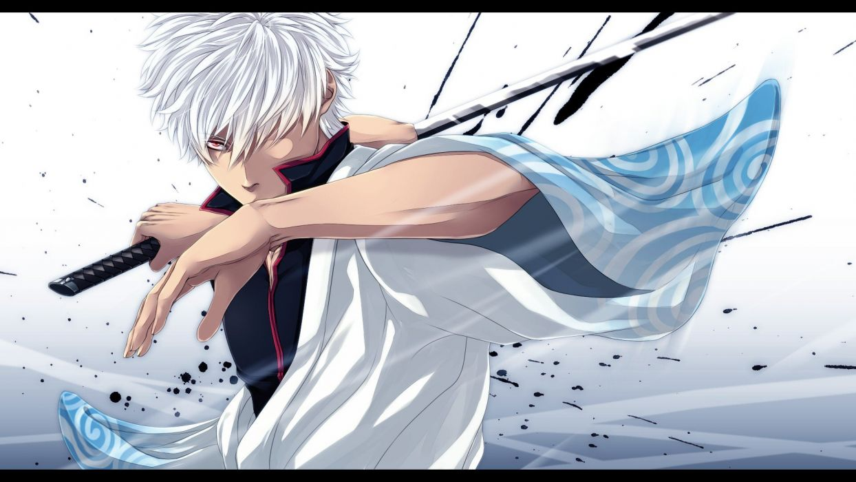 katana weapons Gintama red eyes short hair Sakata Gintoki anime anime boys white hair Japanese clothes swords hair in face splashes wallpaper