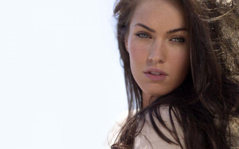 brunettes women Megan Fox actress celebrity white background wallpaper