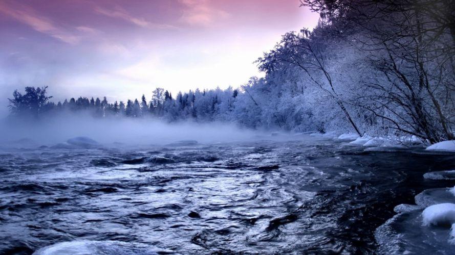 landscapes nature winter snow fog mist natural scenery wallpaper