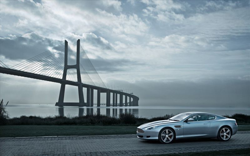 clouds cars Aston Martin bridges roads wallpaper