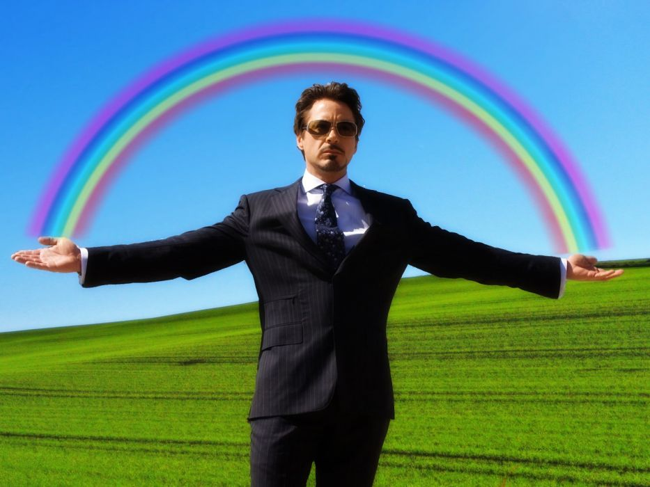 Iron Man rainbows Tony Stark Robert Downey Jr wallpaper