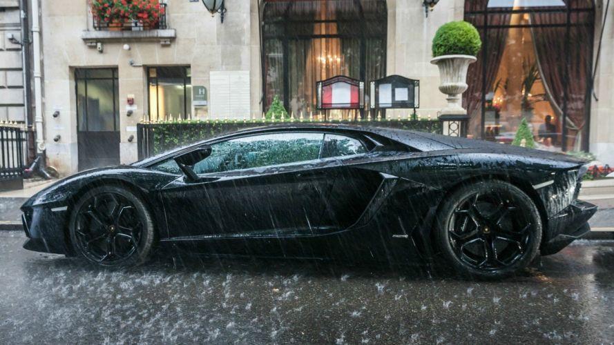 black rain cars Lamborghini Lamborghini Aventador Aventador Hotel wallpaper