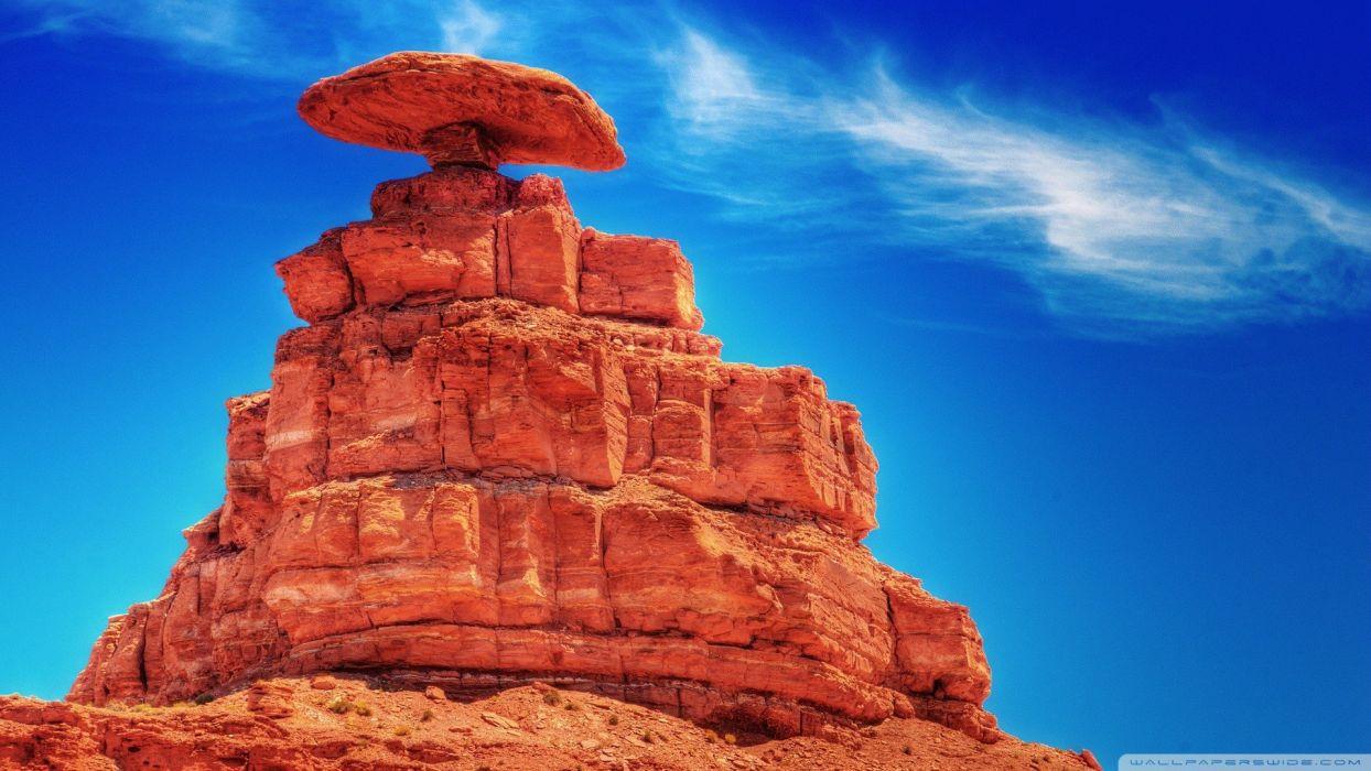 nature pyramid rock formations blue skies wallpaper
