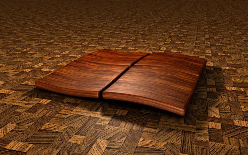 wood Microsoft Windows logos wallpaper