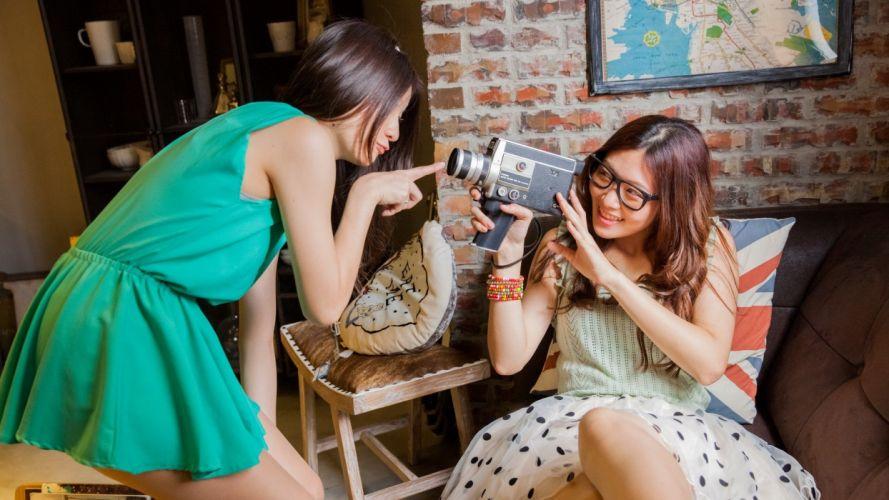 women glasses Japanese Asians Taiwanese models wallpaper