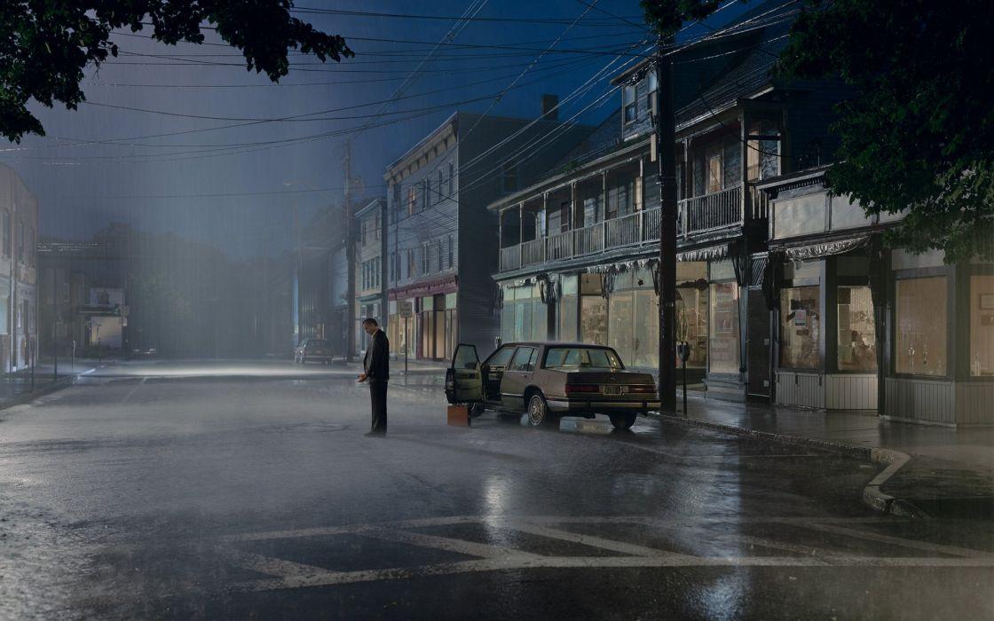 streets night rain cars wallpaper