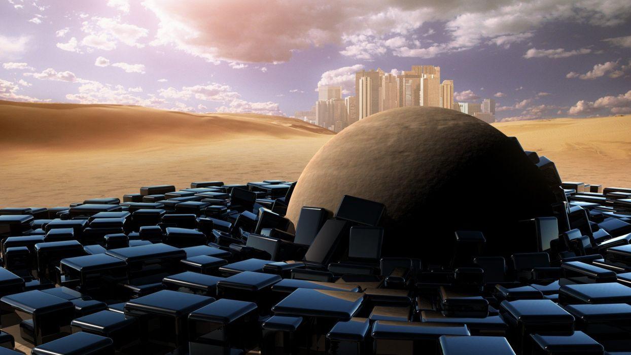 deserts spheres wallpaper