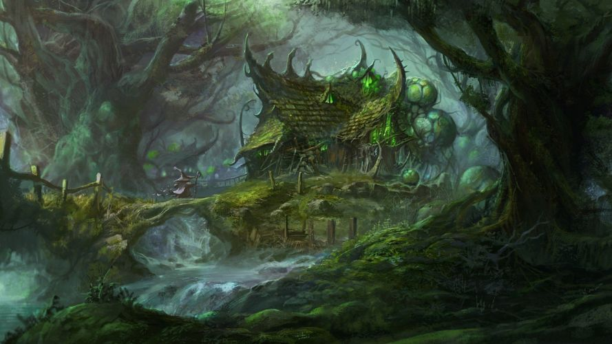water paintings trees forests houses fantasy art artwork witcher wallpaper