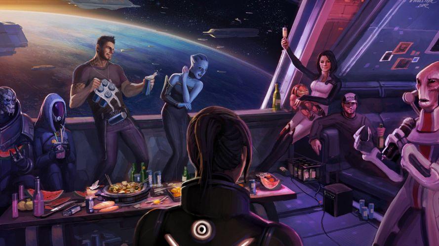 women happy Mass Effect Mass Effect 3 FemShep Commander Shepard wallpaper