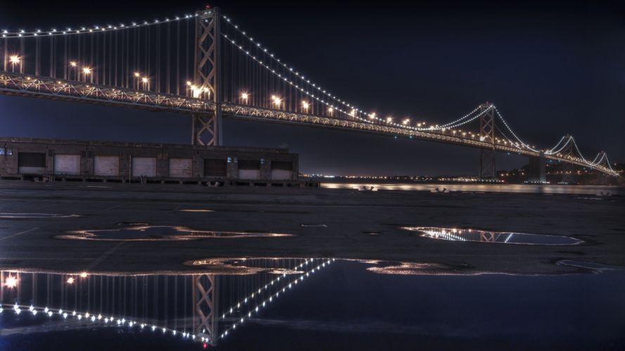night architecture bridges wallpaper