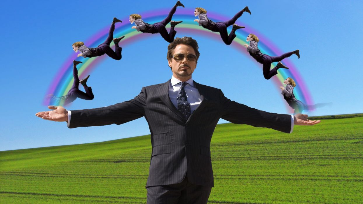 Iron Man The Joker funny rainbows Tony Stark Robert Downey Jr wallpaper