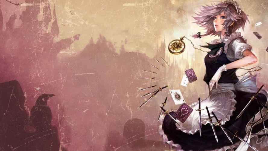Touhou Izayoi Sakuya digital art anime girls karty wallpaper