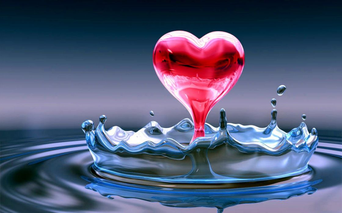 water water drops hearts water heart splashes wallpaper