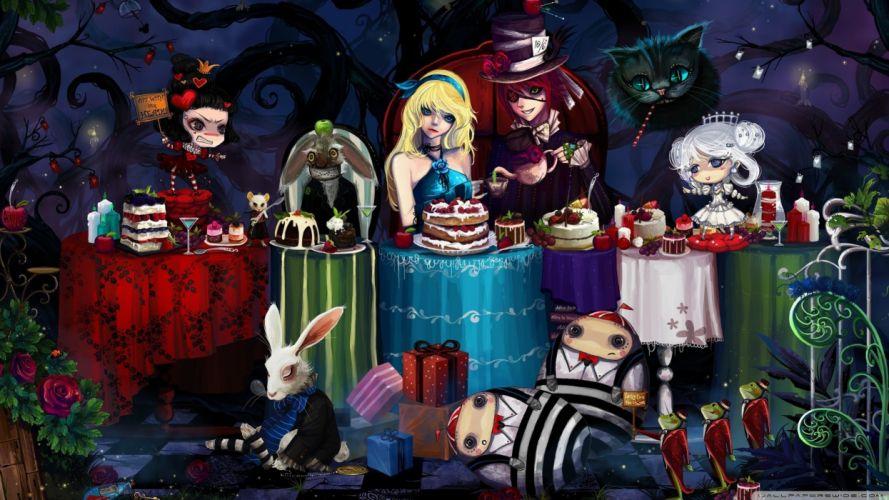 Alice in Wonderland anime tea party wallpaper