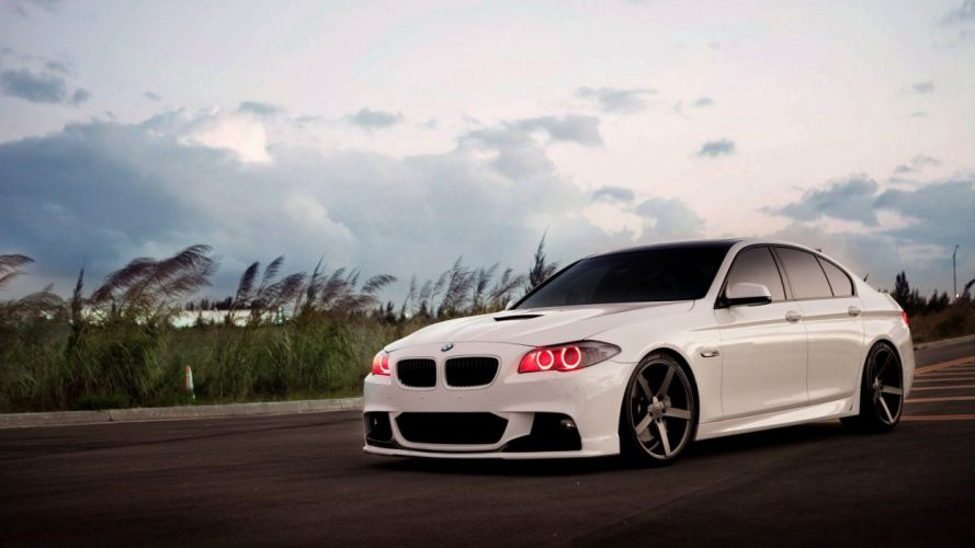 white tuning BMW 5 Series wallpaper