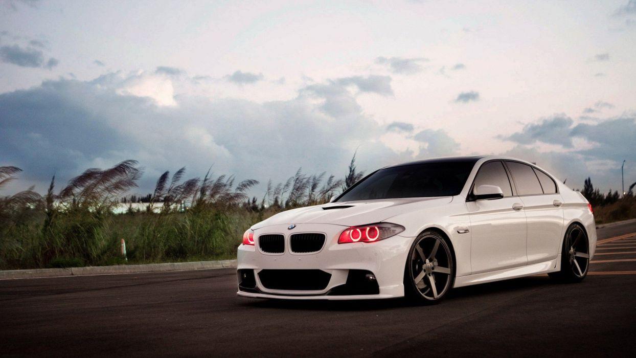 white tuning BMW 5 Series wallpaper