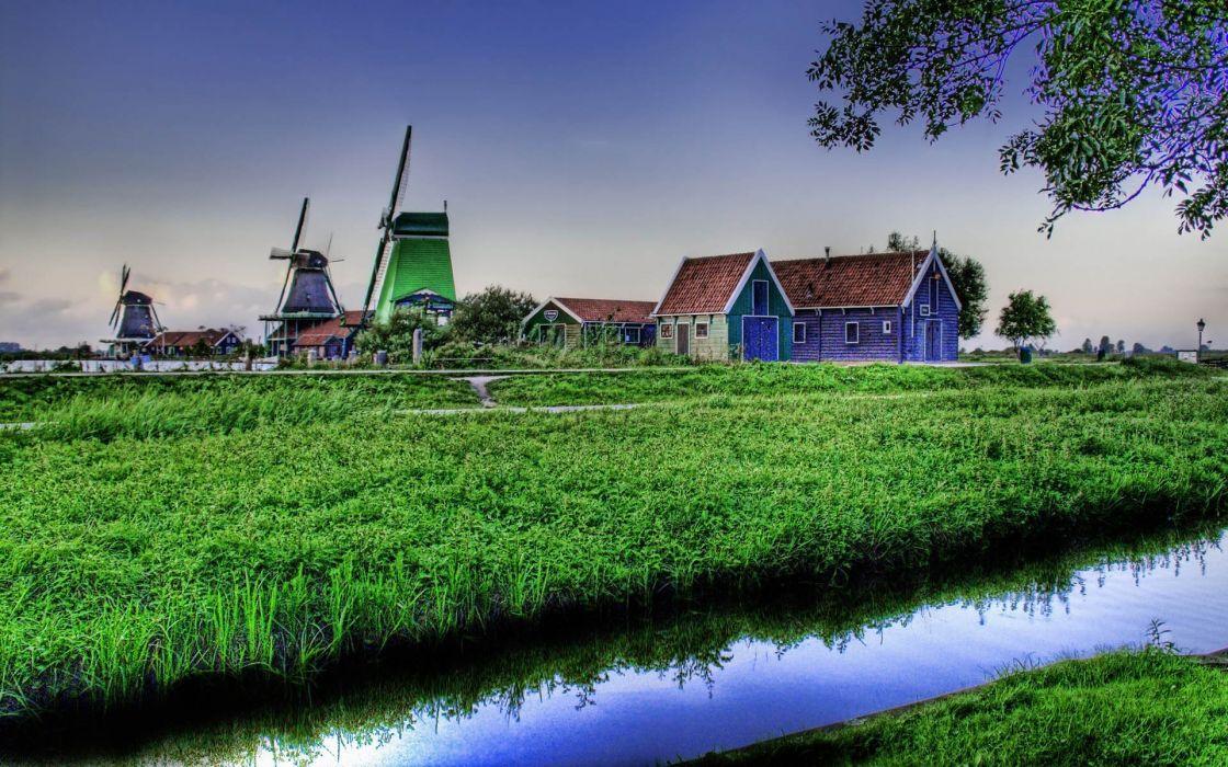 fields streams farmhouse HDR photography windmills wallpaper