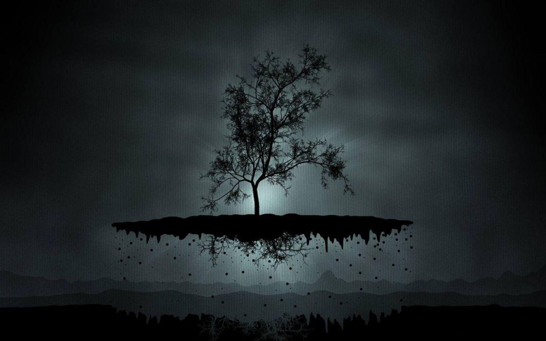 paper black trees floating artwork wallpaper