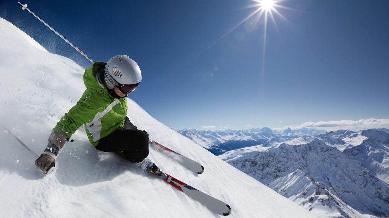 mountains snow Sun sports ski wallpaper