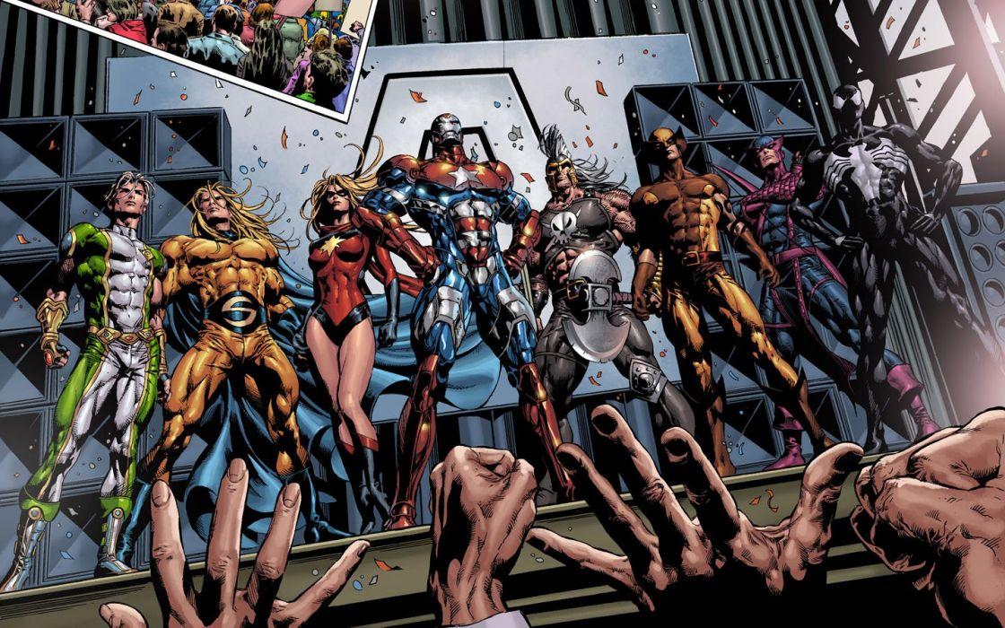 Iron Man Spider-Man Wolverine Marvel Comics Dark Avengers wallpaper